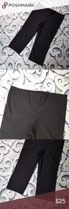 "Black Capris Size 1X Stretch For Cynthia Black Capris Size 1X Stretch   Measurements: Waist: 37"" Rise:  11"" inseam: 22""  Inventory Number: 106 For Cynthia Pants Capris"