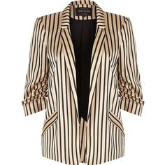 River Island Pink stripe print ruched sleeve blazer (€50) ❤ liked on Polyvore featuring outerwear, jackets, blazers, coats, coats & jackets, pink, sale, women, tall jackets and three quarter sleeve blazer