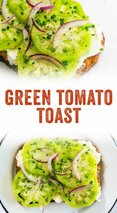 Looking for a green tomato recipe? Try this fancy toast, spread with goat cheese, topped with pan fried green tomatoes, red onion and herbs. Tomato Toast Recipe, Baked Tomato Recipes, Green Tomato Recipes, Easy Cooking, Cooking Recipes, Healthy Recipes, Vegetarian Day, Yummy Veggie, Yummy Food