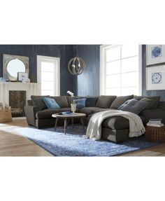 Nevio Leather Amp Fabric Power Reclining Sectional Sofa With