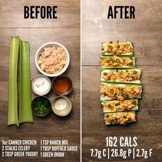 No calorie snacks - Buffalo Chicken Stuffed Celery Sticks Here is another 5 minute, high protein, low calorie snack for you to add to your rotation Boring… No Calorie Foods, Low Calorie Recipes, Diet Recipes, Cooking Recipes, Healthy Recipes, Low Carb Meal, Healthy Meal Prep, Healthy Snacks, Healthy Eating
