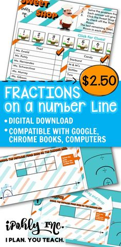 Envision downloading an easy #digital #math #lesson for your #3rdGrade or #4thGrade class… and going home early!  All the work is done for you on this #fractions #numberline lesson plan! It includes activities, games and task cards.   This works great for Google classroom!   For more fun guided math activities and unit plans visit ipohlyinc.com! Number Line Activities, Fraction Activities, Math Activities, Math Classroom, Google Classroom, Daily 3 Math, 3rd Grade Math Worksheets, Problem Solving Activities, Math Words