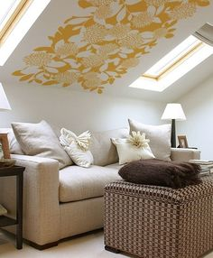cool idea for a slanted ceiling