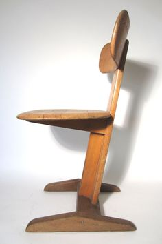 Rare Avant Garde 1930s Bauhaus Germany School Desk Chair, Signed