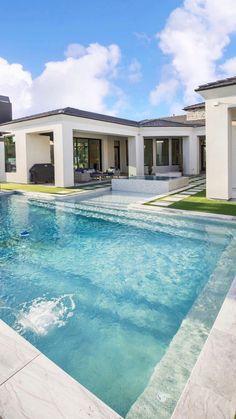 Pool House Designs, Backyard Pool Designs, Swimming Pools Backyard, Swimming Pool Designs, Backyard With Pool, Modern Pool House, Modern Pools, Modern Houses, Beautiful House Plans