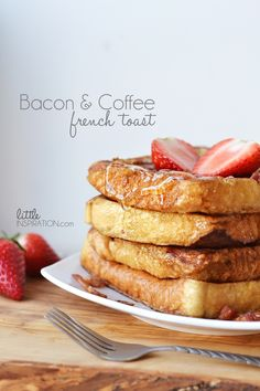 Bacon & Coffee French Toast-- Sweeten up your dish with Vermont Maid Syrup International Delight Iced Coffee, Make French Toast, Breakfast Recipes, Breakfast Ideas, Breakfast Dishes, Coffee Recipes, Sweet Recipes, Yummy Recipes, Recipies