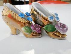 2 Vintage Japan Miniature China Porcelain Floral Shoe Pincushion