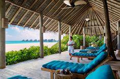 What a view! Relaxation Lounge at Six Senses Spa Laamu, Maldives. www.sixsenses.com/laamu