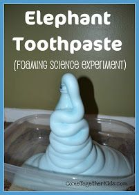 Elephant toothpaste (really fun foaming science experiment using hydrogen peroxide, dish soap, and yeast! We just went to a science show at the library and this was the girls' favorite experiment! Science Party, Preschool Science, Science Classroom, Science Fair, Teaching Science, Science For Kids, Science Activities, Science Crafts, Science Ideas