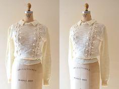 70s eyelet sweater / vintage 1970s sweater / knit by BreanneFaouzi, $40.00