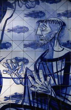 """Traditional azulejo of Igreja de São Francisco de Assis in Belo Horizonte, Minas Gerais. The church dates from the 1940's and was built by Oscar Niemeyer, tiles and murals were by Candido Portinari."""