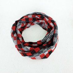 Black and Red Plaid Scarf  Handwoven Plaid Infinity Scarf
