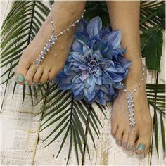 barefoot sandals - something blue - crochet - blue - wedding foot jewelry - pearls - crochet