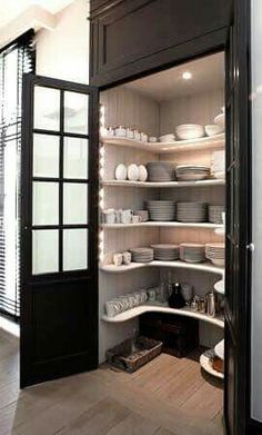 black door/ frosted windows for pantry