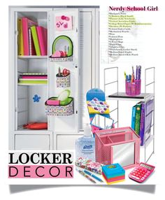 """""""Decorate Your Locker"""" by sarah-crotty ❤ liked on Polyvore featuring interior, interiors, interior design, home, home decor, interior decorating, Post-It, BackToSchool and lockerdecor"""
