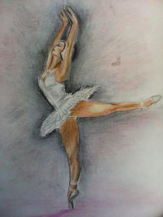 Μπαλαρίνα, χορευτική φιγούρα απο το κλασσικό έργο η λύμνη των κύκνων ( υλικά ζωγραφικής, μολύβι, κάρβουνο και ξυλομπογιά)