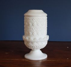 Vintage Milk Glass Fairy Lamp Cut Diamond Pattern by riceandbell