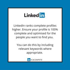LinkedIn Tip: LinkedIn search is a lot like Google search. You want to be showing up in the first few search results. In order to do that you need complete your profile and sprinkle keywords throughout so that you're ranking for those words.