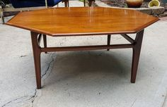 Mid Century Octagonal Wood Spindly Leg Coffee Table Mad Men Style by gremlina on Etsy