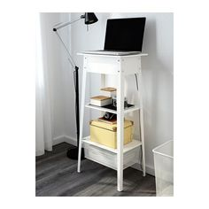 "IKEA PS 2014 Standing laptop station  - IKEA. $50 white metal , cable management holes @ top, Width: 17 3/4 "" Depth: 13 "" Height: 37 3/4 """