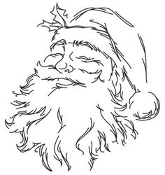 Santa's face emerges from a few light lines of stitching. Downloads as a PDF. Use pattern transfer paper to trace design for hand-stitching.