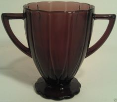 "HAZEL ATLAS NEWPORT PURPLE AMETHYST GLASS SUGAR BOWL FOOTED 1930'S VINTAGE 4"" T"