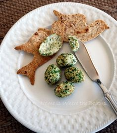 "For a Springtime themed tea: Bird shaped toasts and pesto/goat cheese ""bird eggs"" spread"