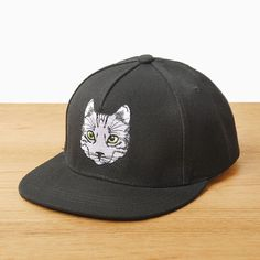 Cute cat embroidered baseball cap for women black sun protection hats UV