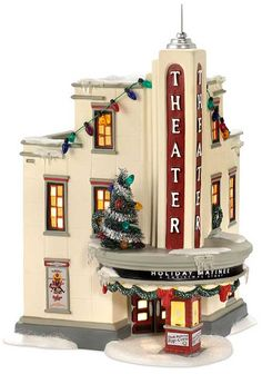 Department 56 A Christmas Story Lighted Village Uptown Theater Christmas Village Collections, Christmas Village Display, Christmas Village Houses, Putz Houses, Christmas Villages, Christmas Decorations, Christmas In The City, Christmas Town, A Christmas Story