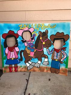 This would be a hit at your little cowboy or cowgirls party! The characters can be switched around to suit your needs, you can do all boys or all girls also. This is painted on a sturdy trifold display board, it is 48 inches wide and 36 inches tall when open. I have left room so amessage