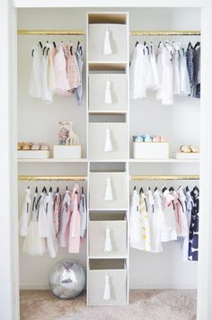 How to Create a Glam Custom Nursery Closet on a Budget - Pro.- How to Create a Glam Custom Nursery Closet on a Budget – Project Nursery You'd never believe they created this nursery closet on a budget! It's so glam! Baby Girl Closet, Kid Closet, Closet Bedroom, Baby Bedroom, Nursery Room, Girl Nursery, Girl Room, Girls Bedroom, Closet Ideas