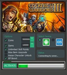 Share on Twitter Share on Google Plus Share on Pinterest Share on LinkedIn Hack Eternity Warriors 3  for iOS and Android? Do not worry we will provide Eternity Warriors 3 Hacks  Unlimited Coins and Gems No Surveys No Password to download for free. Get the Eternity Warriors 3 Cheats Hack Tool and you'll surely enjoy the game to the maximum.