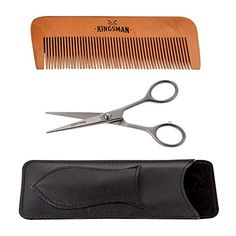 Grooming Kit for Beard Mustache Sideburns Hair  Includes Sandalwood Comb Razor Sharp 5 Inch Scissors with Larger Finger Holes Faux Leather Storage Case For Protection During Storage and Travel >>> See this great product.
