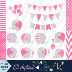Pink Elephant Clip Art - Vector Baby Elephants - Commercial Use - Seamless Pink Geometrical Papers - Scrapbooking Elephants - Elephant Image Cute Baby Elephant, Baby Elephants, Pink Elephant, Owl Clip Art, Elephant Images, Elephant Illustration, Blog Design, Digital Pattern, Party Printables