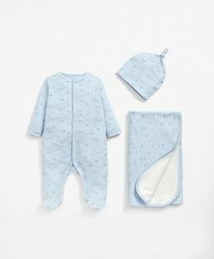 Three Piece Gift Set Blue - All-in-One, Hat & Blanket