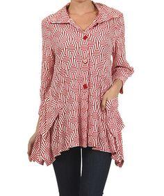 Look at this #zulilyfind! Red & White Geometric Jacket #zulilyfinds