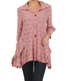 Look at this #zulilyfind! Red & White Geometric Jacket #zulilyfinds