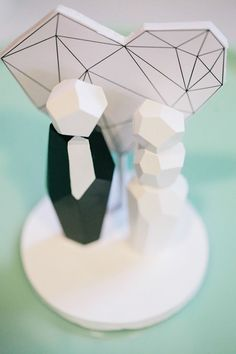 Geometric cake topper - an abstract approach to the traditional wedding cake topper.