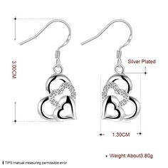Aliexpress.com : Buy Three heart Crystal Charms Long Drop earrings 925 stamped silver plated Fashion New Jewelry Brincos de Prata from Reliable jewelry frame suppliers on Rose Fashion Jewelry CO., LTD.