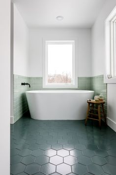 Freestanding bathtub in Lakehouse bathroom / Our Modern Master bath that envokes Lake Michigan and Scandinavian Farmhouse style. A little bit of color in a minimal bathroom. See the full thing on The Fresh Exchange. Minimalist Bathroom Design, Minimal Bathroom, Modern Bathroom Design, Small Bathroom, Bathroom Ideas, Minimalist Decor, Bathroom Organization, Minimalist Design, Bathroom Green