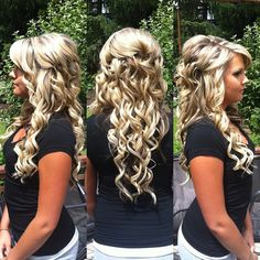 Half up half down hairstyle for a wedding (bride, or bridesmaids) Curly pinned back hairdo. I love it!