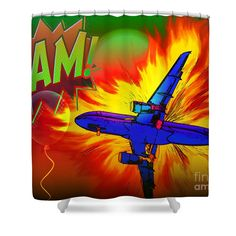 Comic Plane Shower Curtain by Eleni Mac Synodinos