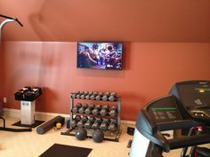 Exercise Room Display. This room also contains in-ceiling speakers for high volume sound.