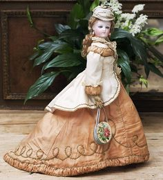 """14"""" (35 cm). Antique French Fashion Poupee Doll by Bru In Silk Couture Gown"""