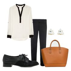 An amazing menswear-inspired outfit: sheer blouse, slacks, simple oxfords, and a structured bag. Fall Outfits, Cute Outfits, Fashion Outfits, Womens Fashion, Work Outfits, Fashion Ideas, Fashion Inspiration, Vogue, Elegant Outfit