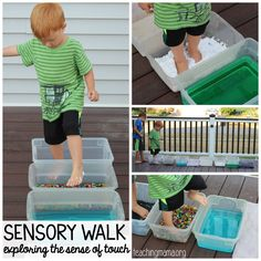 Create a sensory walk for your child. This helps children explore the sense of touch using their feet.