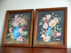 Pair of antique french paintings STILL LIFE signed A.NEBOUT 1945 bunch of flowers roses