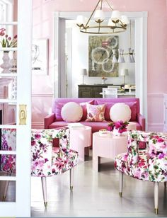 Suellen Gregory pink interior, bold floral chairs