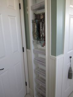 Bathroom - French Country Style. Built-in jewelry storage, between the studs