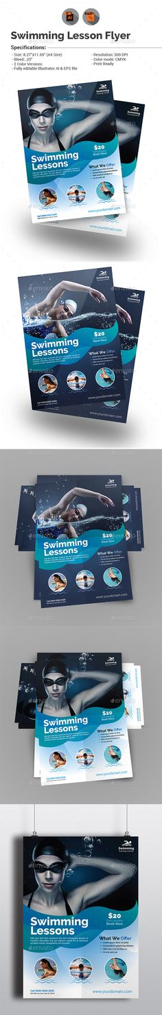 Swimming Lessons Flyer Template Vector EPS, AI. Download here: http://graphicriver.net/item/swimming-lessons-flyer-template/15525058?ref=ksioks